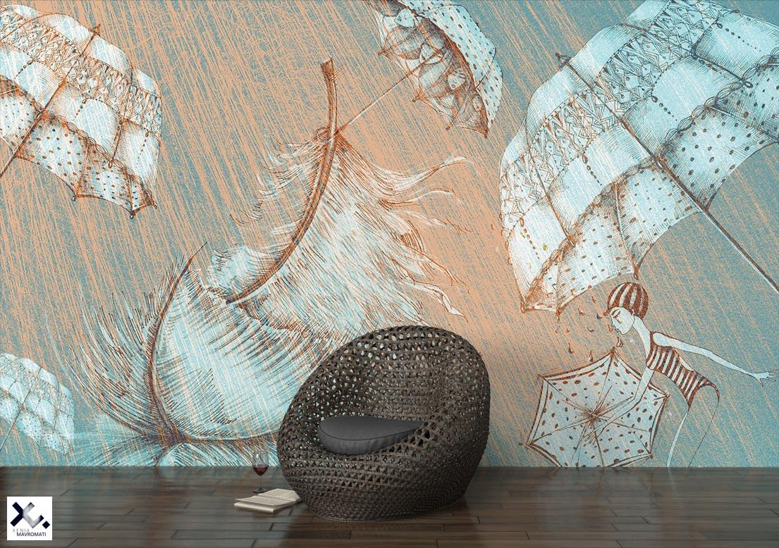 "Art wallpaper ""I'm only happy when it rains"". Hand-drawn illustration. Designer wallpaper."