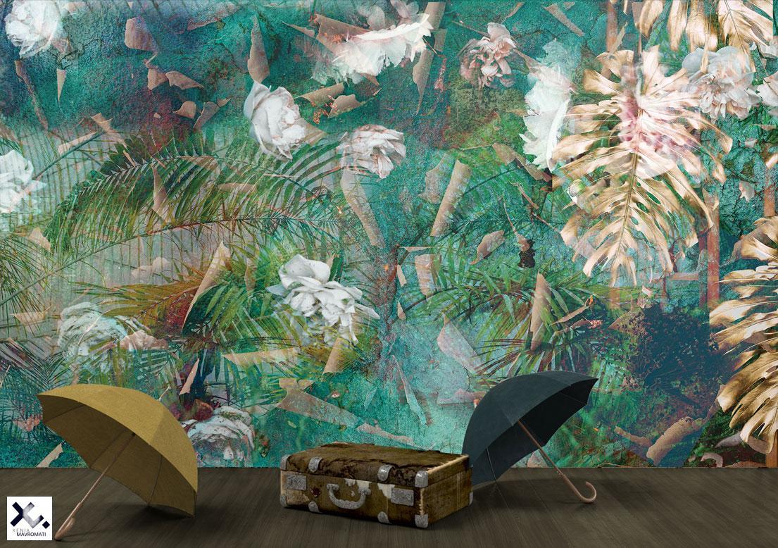 "Designer wallpaper ""Garden of dreams. Art wall design. Vintage wall decor."