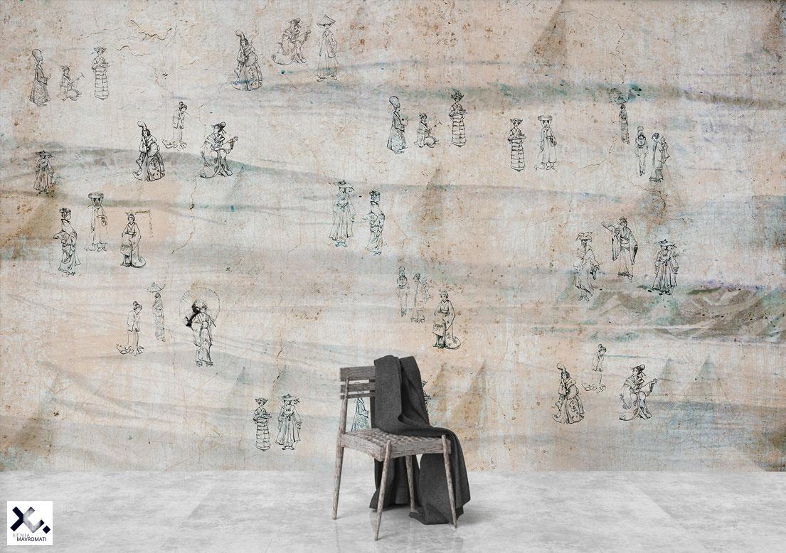 """Eastern spirit"" art wallpaper. Metal quill illustraiton. Art wall decor."