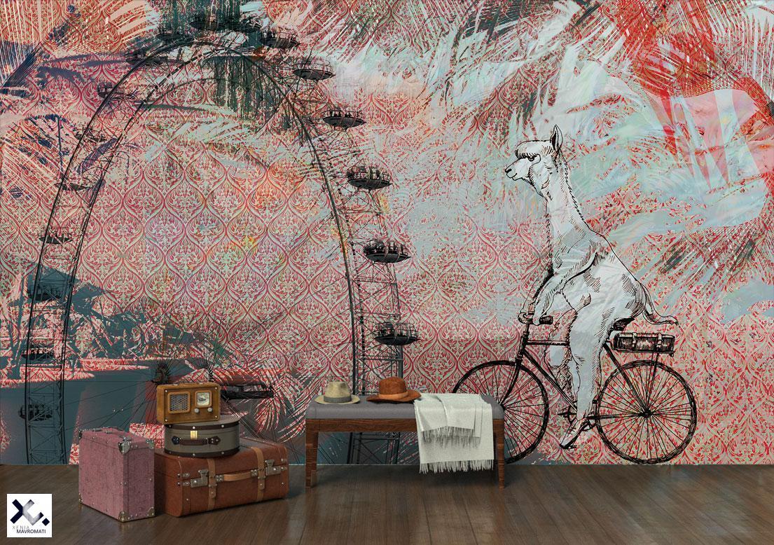 "Art wallpaper ""La-la-lama"". Fineliner illustration. Art wall decor."