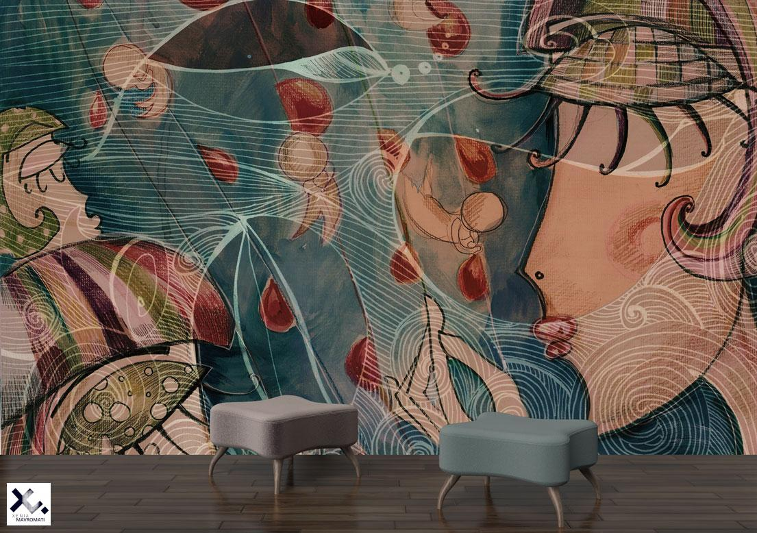 """Vanity"" art wallpaper. Art wallpaper. Art wall decor."