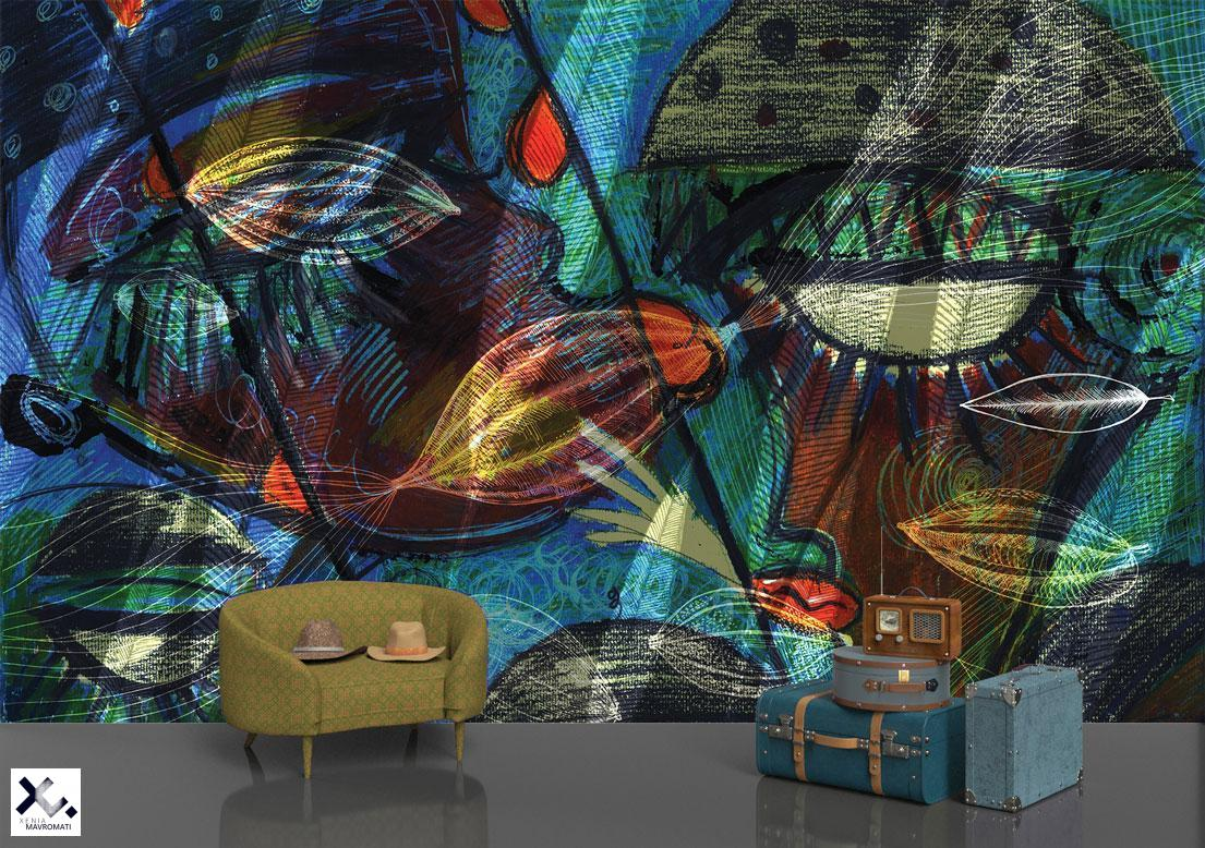 """Anima-Aminus"" art wallpaper. Art wall decor."