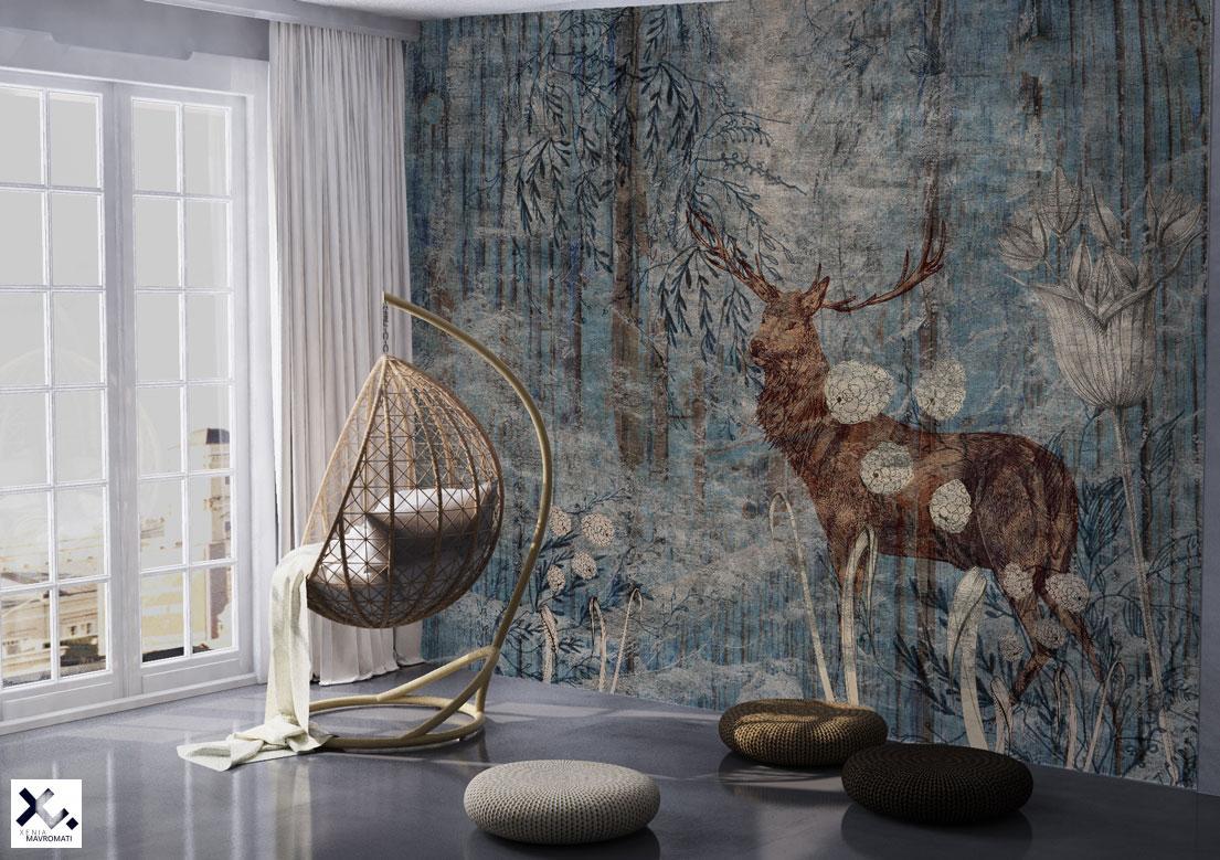 """""""The Deer's song"""" art wallpaper by wallsbeyond.com"""