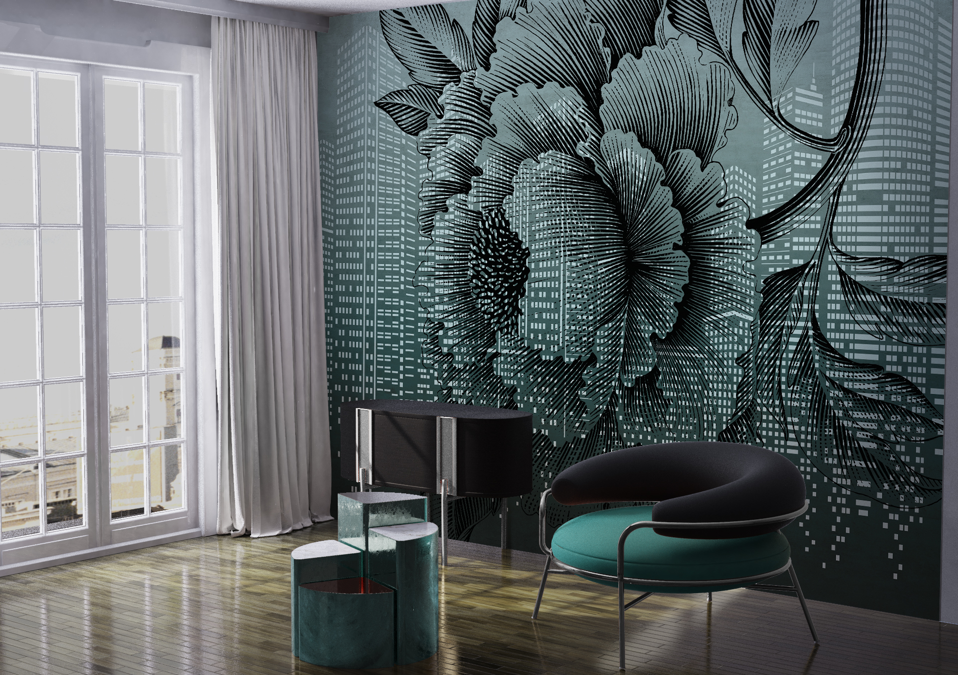 """""""Urban flower"""" art wallpaper by wallsbeyond.com"""