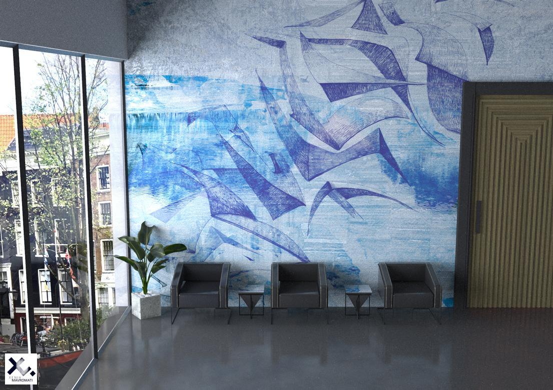 """""""Birds"""" art wallpaper by wallsbeyond.com"""