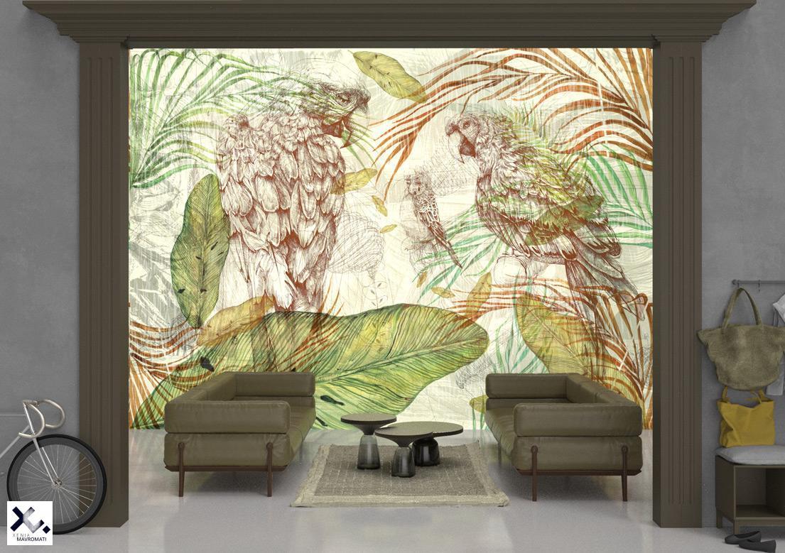 """""""Parrot song"""" art wallpaper by wallsbeyond.com"""