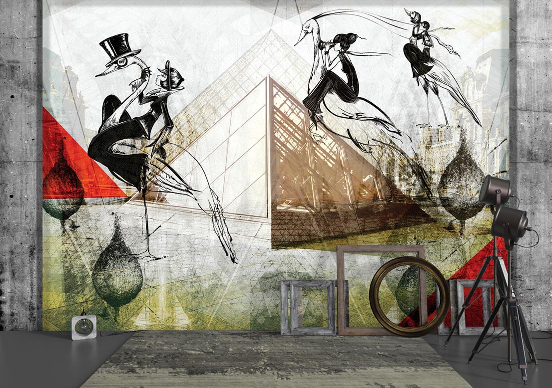 """Paris ladies"" art wallpaper by wallsbeyond.com"